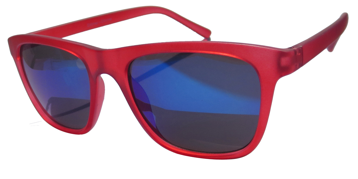 Red rubber finish with Blue mirror lens