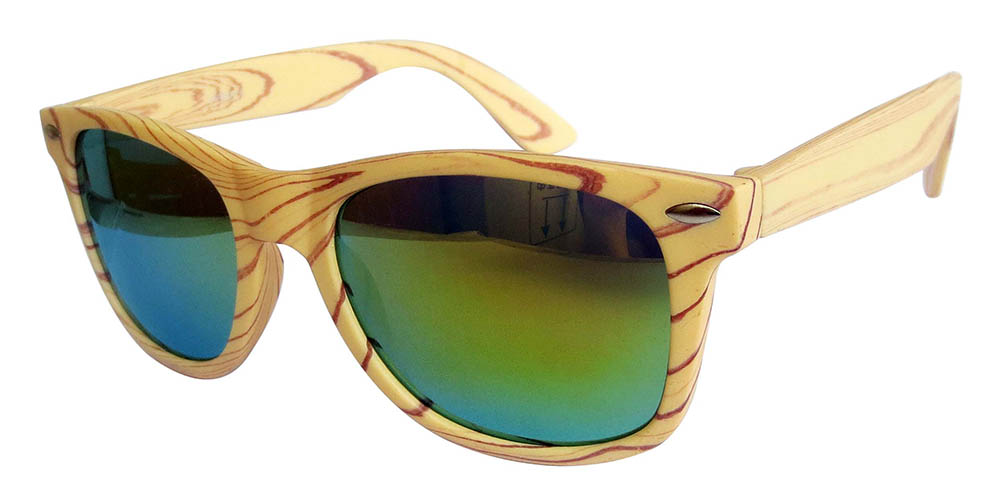 Yellow wooden grain color with gold mirror lens
